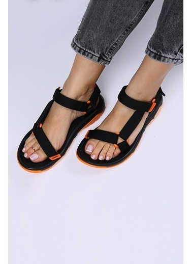 Female Project Siyah-Turuncu Cırtlı Sandalet Siyah